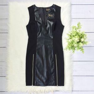 NWT Yumi Kim Black Faux Leather Sleeveless Dress